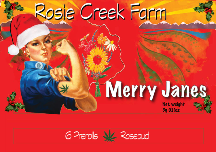 Merry Jane labeled rosie creek holiday special packaging of pre-rolled joints